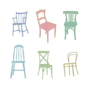Модные плоские стулья с текстурированной поверхностью иллюстрация дизайна интерьера стулья для столовой и гостиной