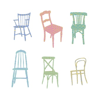 Trendy flat chairs textured interior design illustration dinning and living room chairs
