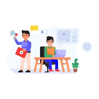 A trendy flat illustration of digital marketing