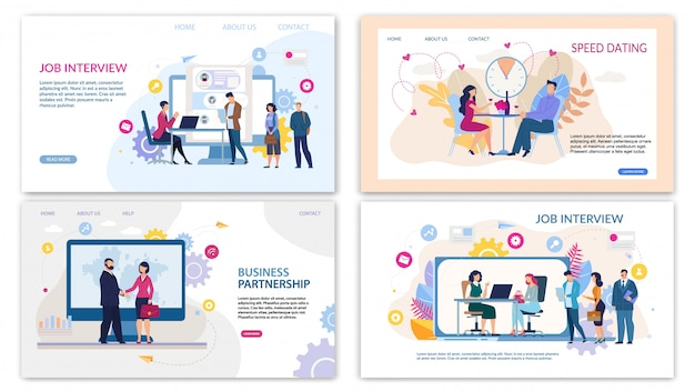 Trendy flat landing page set for online services