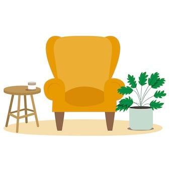 유행 평면 노란색 아늑한 의자. 스칸디나비아 인테리어, 미니멀리즘.