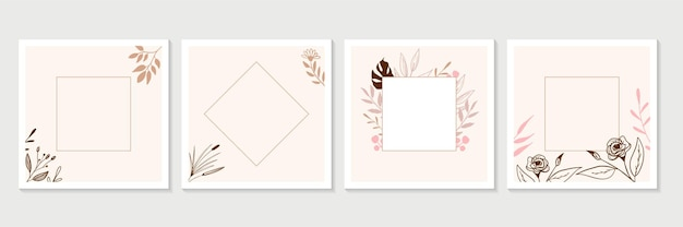 Trendy floral banner design templates.   universal hand drawn floral templates