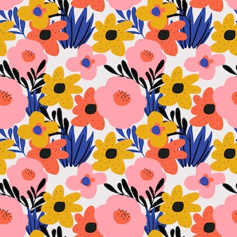 Trendy floral flower seamless pattern