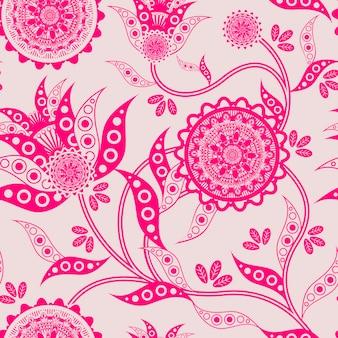 蛍光ピンクの背景にトレンディな花のシームレスなパターン
