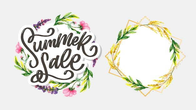 Trendy floral summer sale lettering and frame set