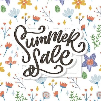 Модные цветочные летняя распродажа надписи иллюстрации.