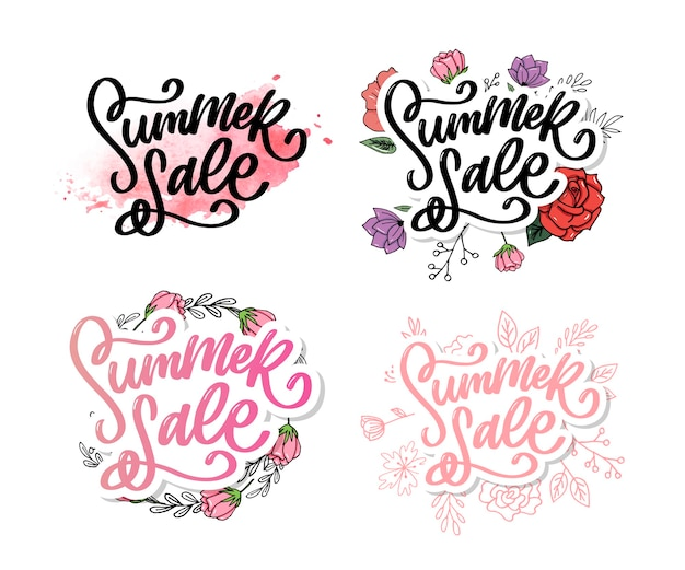 Trendy floral  summer sale lettering set