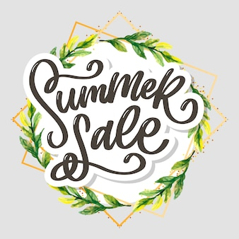 Trendy floral summer sale lettering