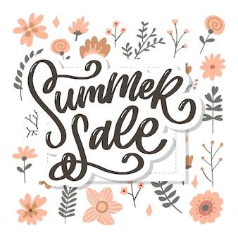 Модные цветочные летние распродажи надписи