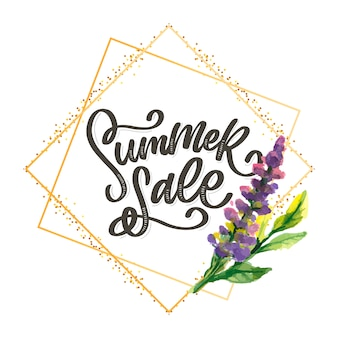 유행 꽃 템플릿입니다. 여름 꽃과 여름 판매 글자 그림입니다. 줄무늬 배경에 초라한 골드 텍스처입니다.