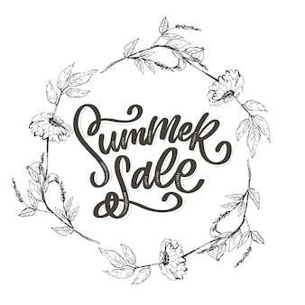 Модный цветочный шаблон. летние цветы и летняя распродажа надписи иллюстрации. потертый золотой текстуры на полосатый фон.