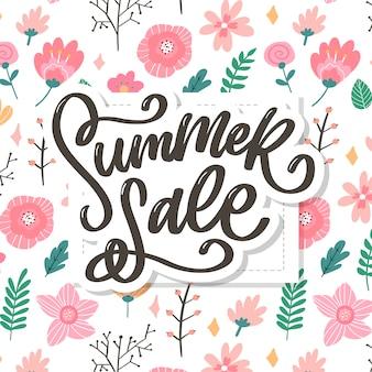 유행 꽃 템플릿입니다. 여름 꽃과 여름 판매 글자 그림.