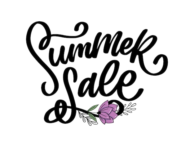 Trendy floral  template. summer flowers and summer sale lettering illustration.