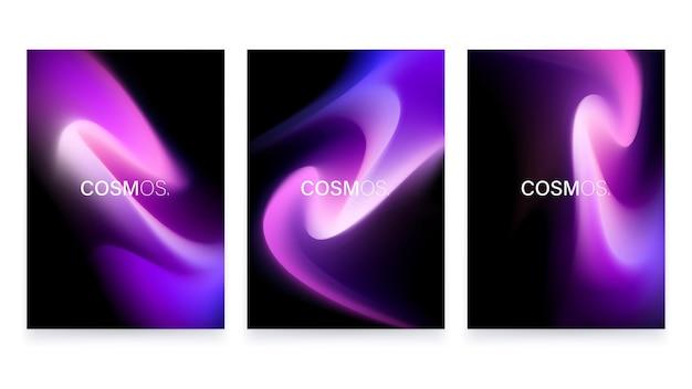 トレンディな流体グラデーション形状a4ポスターセット抽象的な水彩画の背景