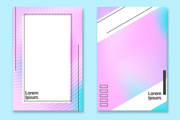 Модный жидкий градиентный белый набор плакатов