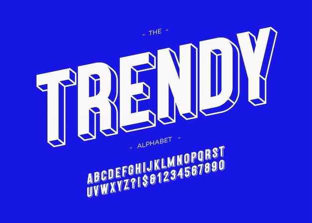 유행 글꼴 3d 굵은 활판 인쇄술 산세 리프 스타일