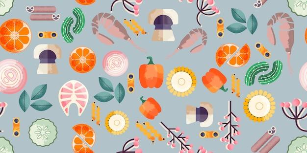 Trendy food seamless pattern