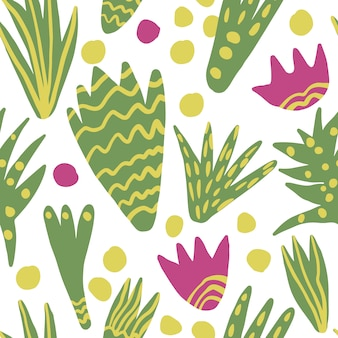 Trendy freehand abstract leaves seamless pattern. hand draw floral wallpaper.