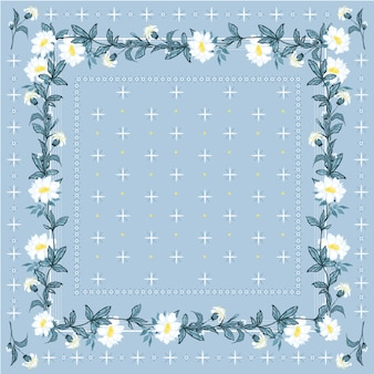 Trendy freshy color of bohemian blooming flowers scarf bandana style seamless pattern.