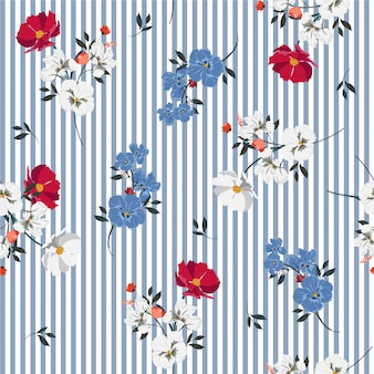 Trendy full of blooming flowers and leaves bright mood on light blue stripe seamless pattern