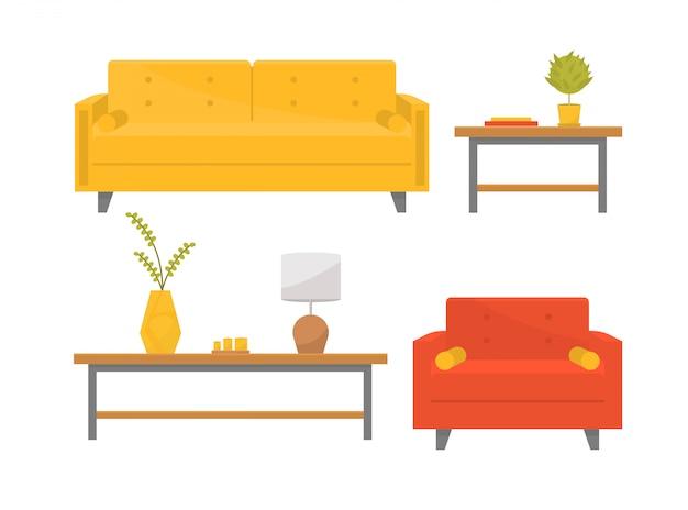 リビングルームの流行の家具。枕、コーヒーテーブル、花瓶、観葉植物、本、キャンドル、ランプが付いたスタイリッシュなソファとアームチェア。フラットスタイルのイラスト。ホームデザイン要素。