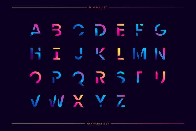 Модный футуристический набор букв