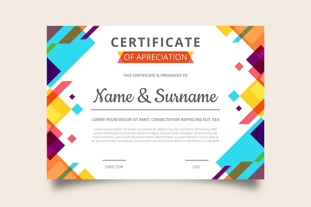 Trendy geometric design certificate of appreciation