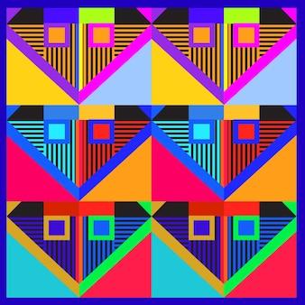 Модные геометрические элементы дизайна поздравительных открыток memphis. текстура ретро-стиля, узор и элементы. современный дизайн и плакат с эмблемой