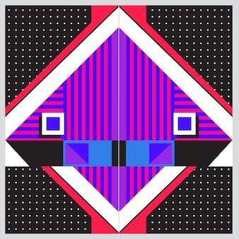유행 기하학적 요소 멤피스 인사말 카드 디자인. 레트로 스타일 텍스처, 패턴 및 요소. 현대 추상 디자인 포스터 및 표지 템플릿