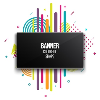 Trendy geometric flat banner frame template.