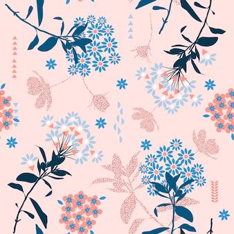 トレンディな幾何学的な花、パステルカラーミックス