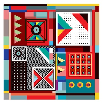 Trendy geometric memphis elements colorful design