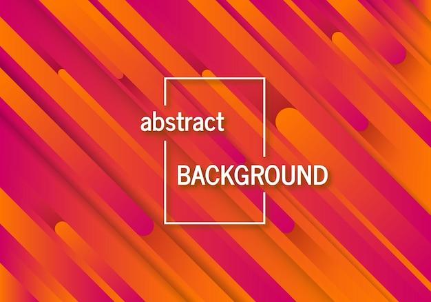 抽象線とトレンディな幾何学的なオレンジ色の背景。未来的なダイナミックパターンデザイン。ベクトルイラスト