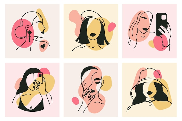 抽象的な要素カードとトレンディな女の子の肖像画