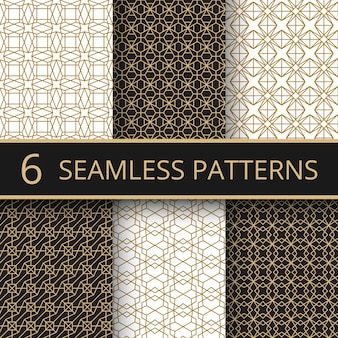 Trendy gold geometric seamless vector patterns with simple golden line shapes