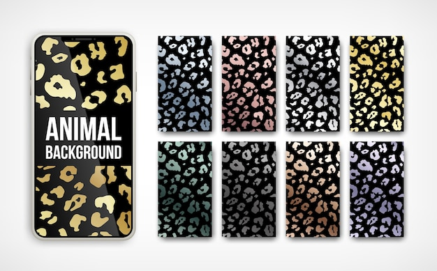Trendy  golden metallic leopard pattern abstract vertical background set on smartphone screen