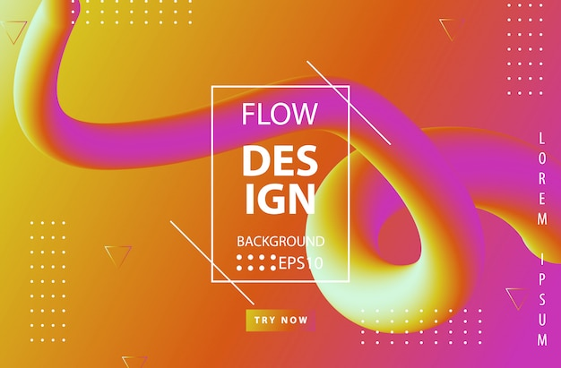Trendy gradient colors with abstract fluid shapes