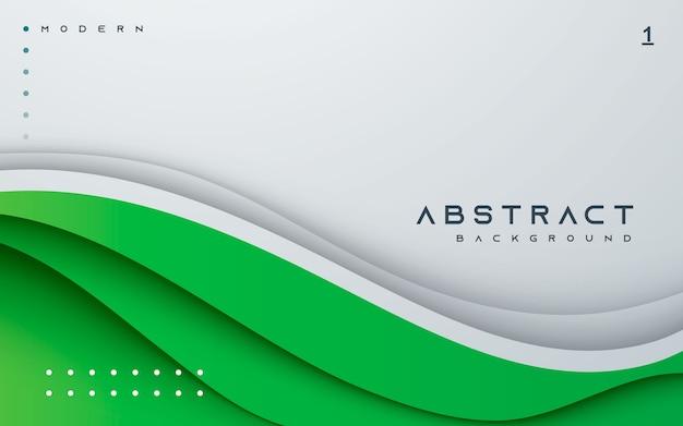 Модный зеленый абстрактный фон волнистый papercut