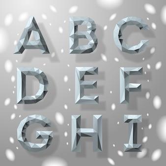 トレンディな灰色の多角形の幾何学的な文字ベクトル図