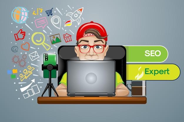 Модный парень в красной кепке и очках за ноутбуком работает seo expert.
