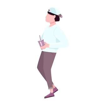 Trendy guy with disposable plastic cup flat color faceless character. fashion young man drinking hot coffee beverage to go isolated cartoon illustration for web graphic design and animation
