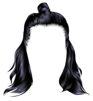 Ультрамодные волосы брюнетки черного цвета. каре с хун. красота мода.