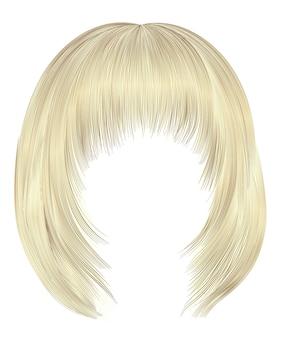 Модные волосы боб каре с бахромой. светло-русые тона. средняя длина. стиль красоты. реалистичный 3d.