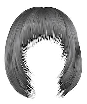 Модные волосы серого цвета. каре бахрома. красота мода