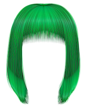Модные волосы зеленого цвета. каре бахрома. красота мода