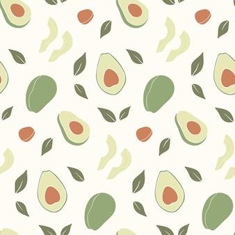 Trendy hand drawn seamless pattern with fresh avocado.