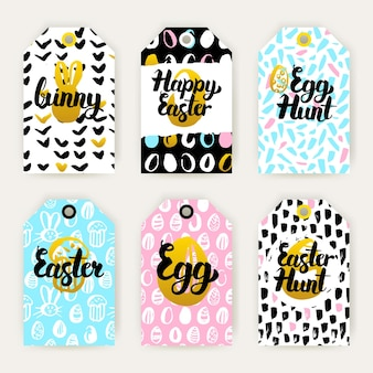 Trendy happy easter gift labels. vector illustration of 80s style shop tag design with handwritten lettering.