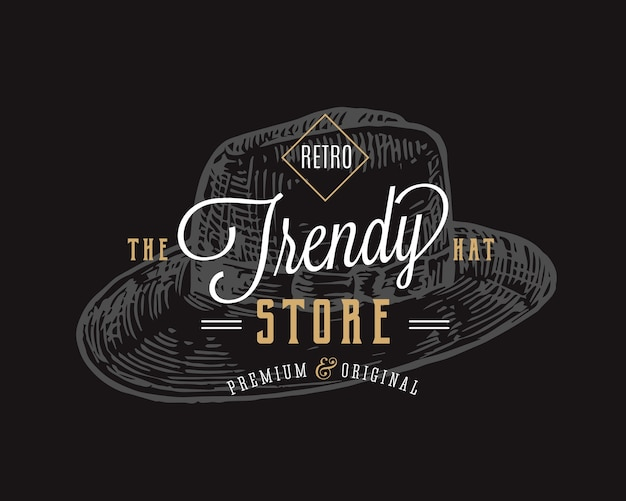 Trendy hat store retro typography abstract