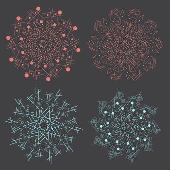 トレンディな流行に敏感な色の円、明るい哲学的シンボル