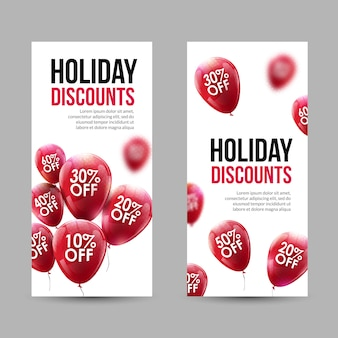 Trendy holiday sale discount banners set with red baloons